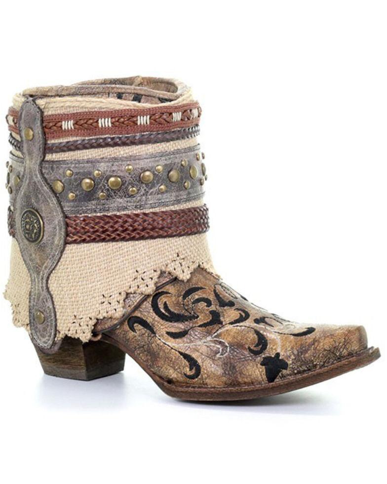 Corral Women's Geraldine Fashion Booties - Snip Toe, Cognac, hi-res