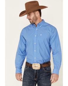 Ariat Men's Buck Geo Print Long Sleeve Button-Down Western Shirt , Blue, hi-res