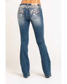 Miss Me Women's Medium Embroidered Aztec Low Rise Chloe Bootcut Jeans, Blue, hi-res