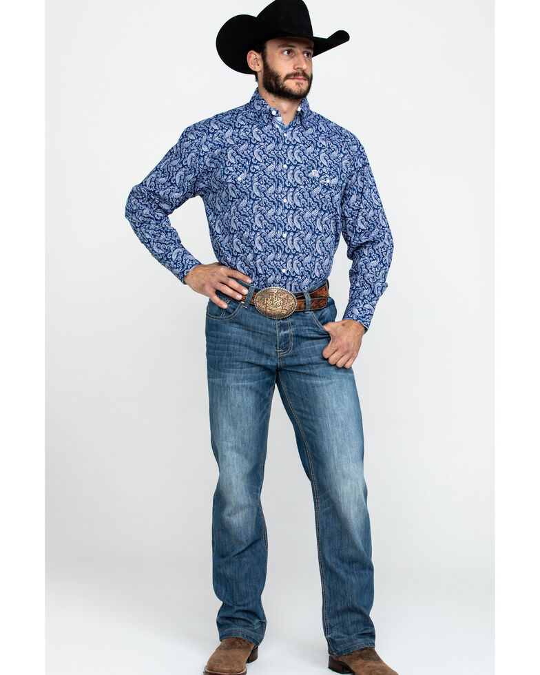 George Strait By Wrangler Men's Navy Paisley Print Long Sleeve Western Shirt - Tall , Navy, hi-res