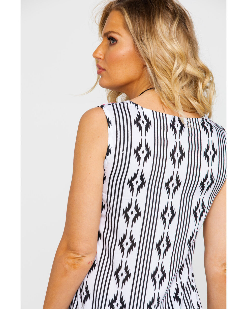 White Label by Panhandle Women's Aztec Tank Top, White, hi-res
