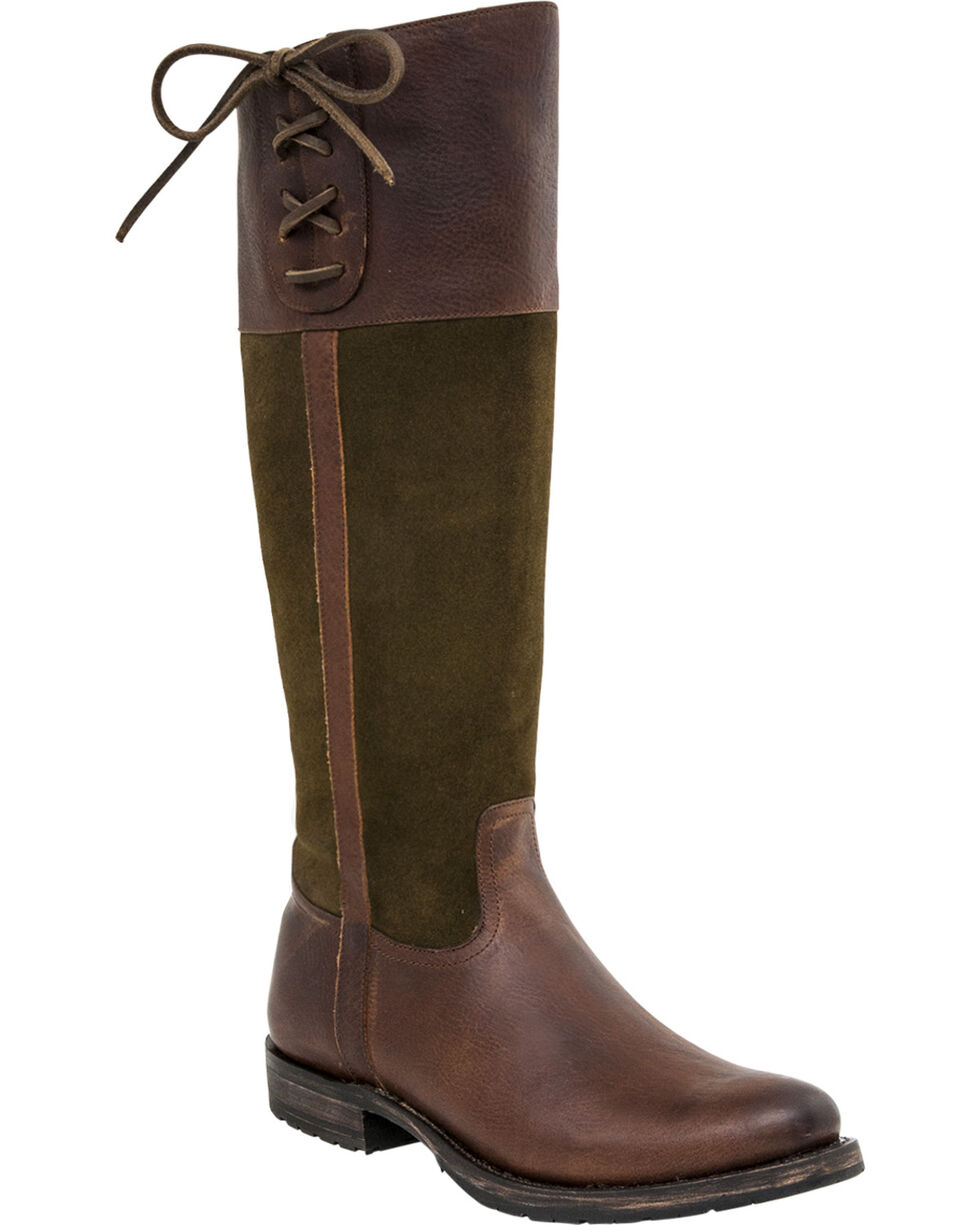 Lucchese Women's Handmade Emma Equestrian Boots - Round Toe , Honey, hi-res