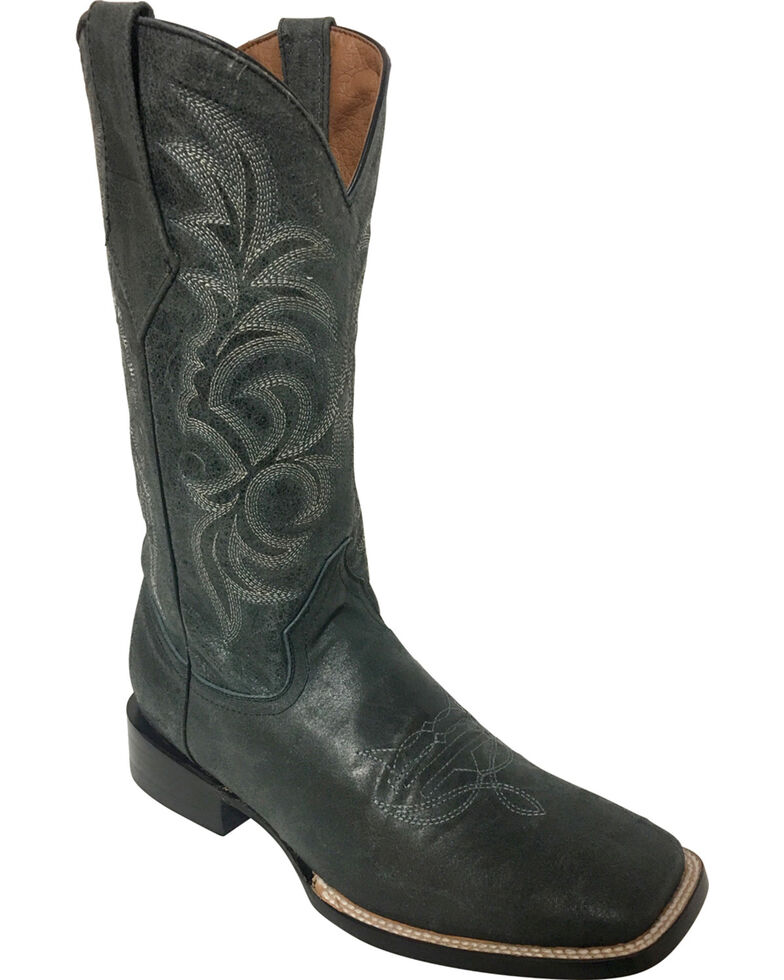 Ferrini Men's Charcoal Cowhide Cowboy Boots - Square Toe, Charcoal, hi-res