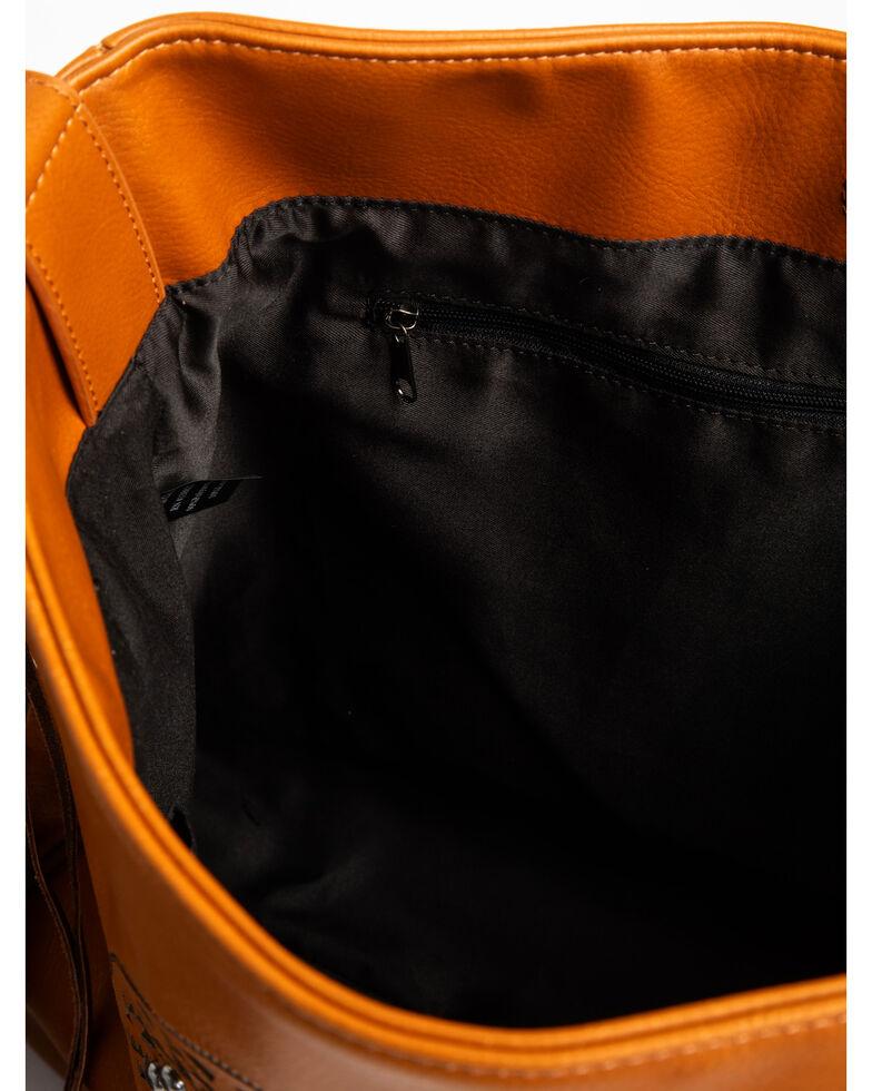 Shyanne Women's Fringe Concho Oversized Messenger Handbag, Cognac, hi-res