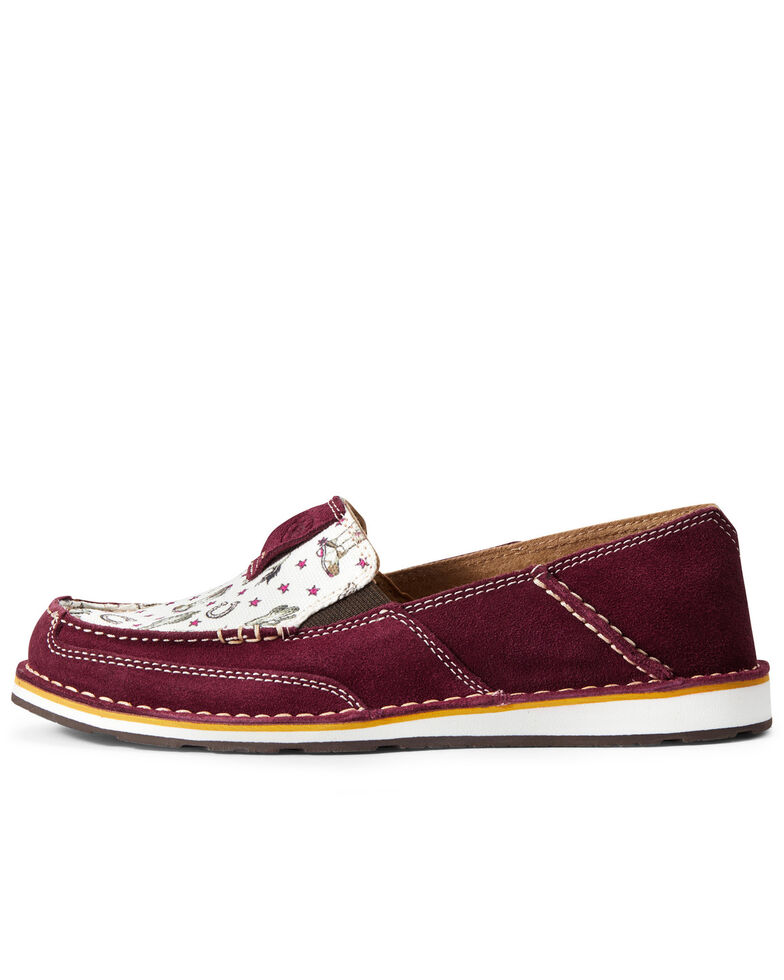 Ariat Women's Cowgirl Print Cruiser Shoes - Moc Toe, Red, hi-res
