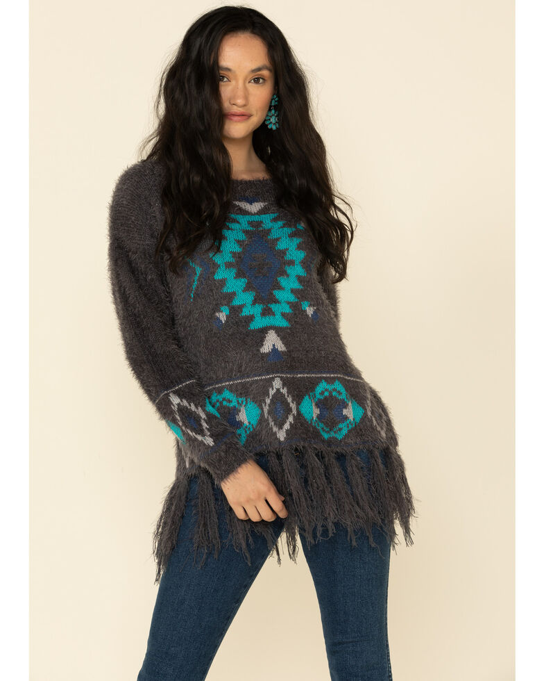 Powder River Outfitters Women's Charcoal Chenille Aztec Sweater , Charcoal, hi-res