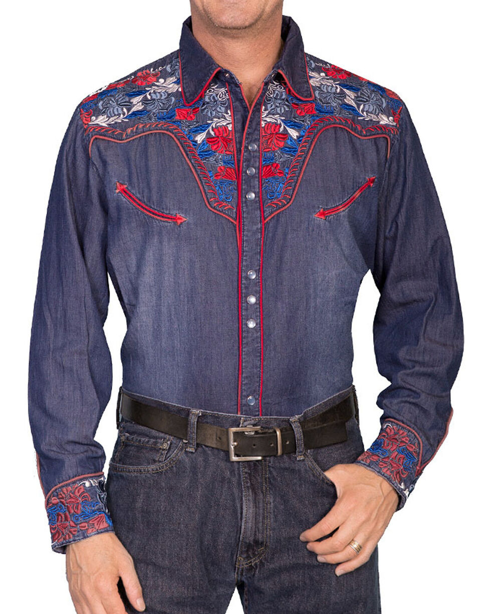 Scully New Men/'s Floral Embroidered Vintage Western Shirt White