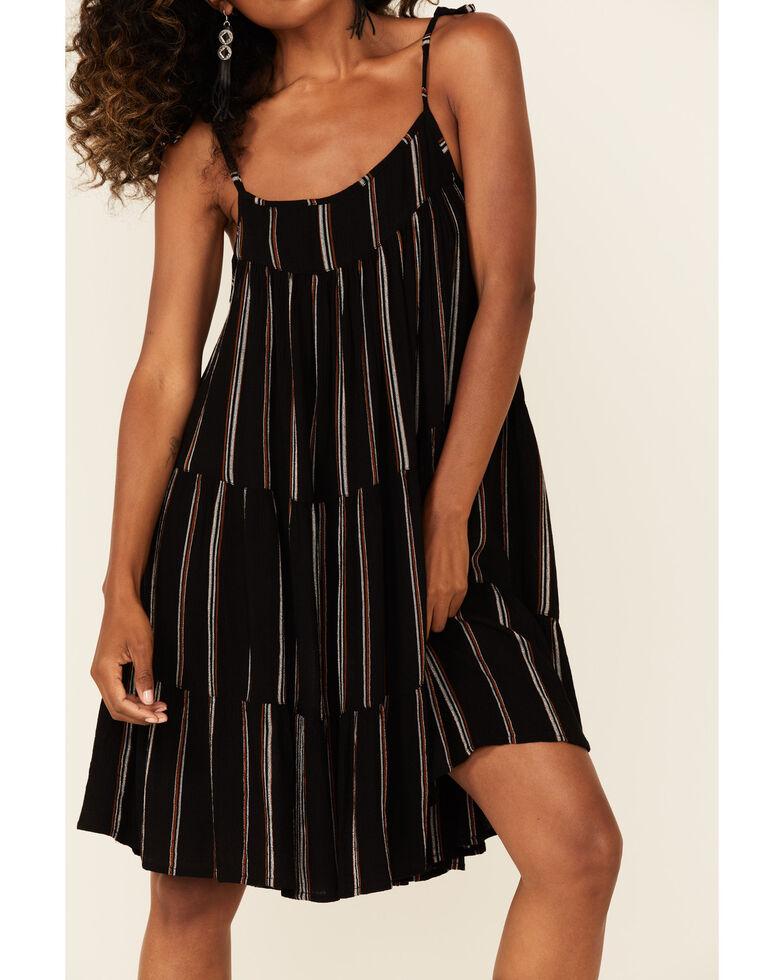 Elan Women's Black Stripe Tiered Sundress, Black, hi-res