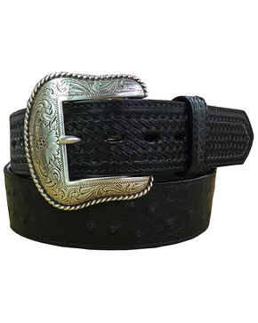 Roper Men's Black Ostrich Print Leather Belt , Black, hi-res