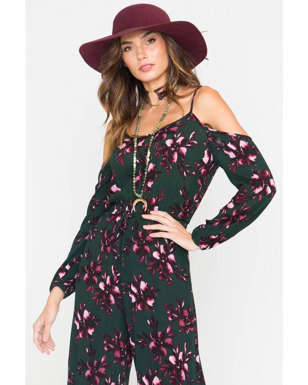 Jack Women's Adaline Floral Cold Shoulder Jumpsuit, Green, hi-res