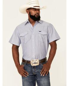 Wrangler Men's Chambray Rigid Cowboy Cut Short Sleeve Snap Work Shirt , Blue, hi-res