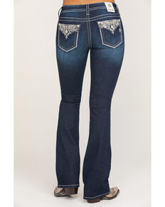 "Miss Me Women's Dark Wash Metallic Glitz 34"" Bootcut Jeans , Blue, hi-res"