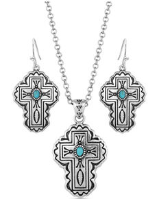 Montana Silversmiths Women's Cathedral Turquoise Silver Cross Jewelry Set, Silver, hi-res