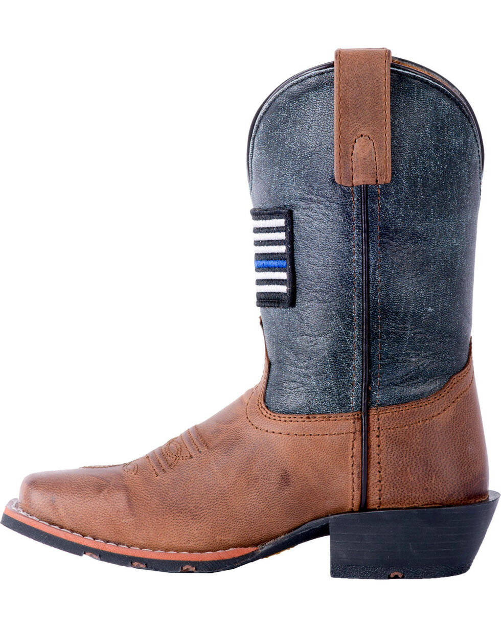 Dan Post Boys' Sand Thin Blue Line Leather Boots - Square Toe , Sand, hi-res