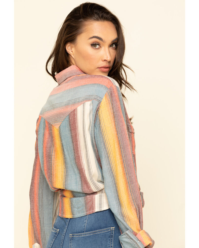 White Label by Panhandle Women's Serape Stripe Long Sleeve Western Shirt , Blue, hi-res