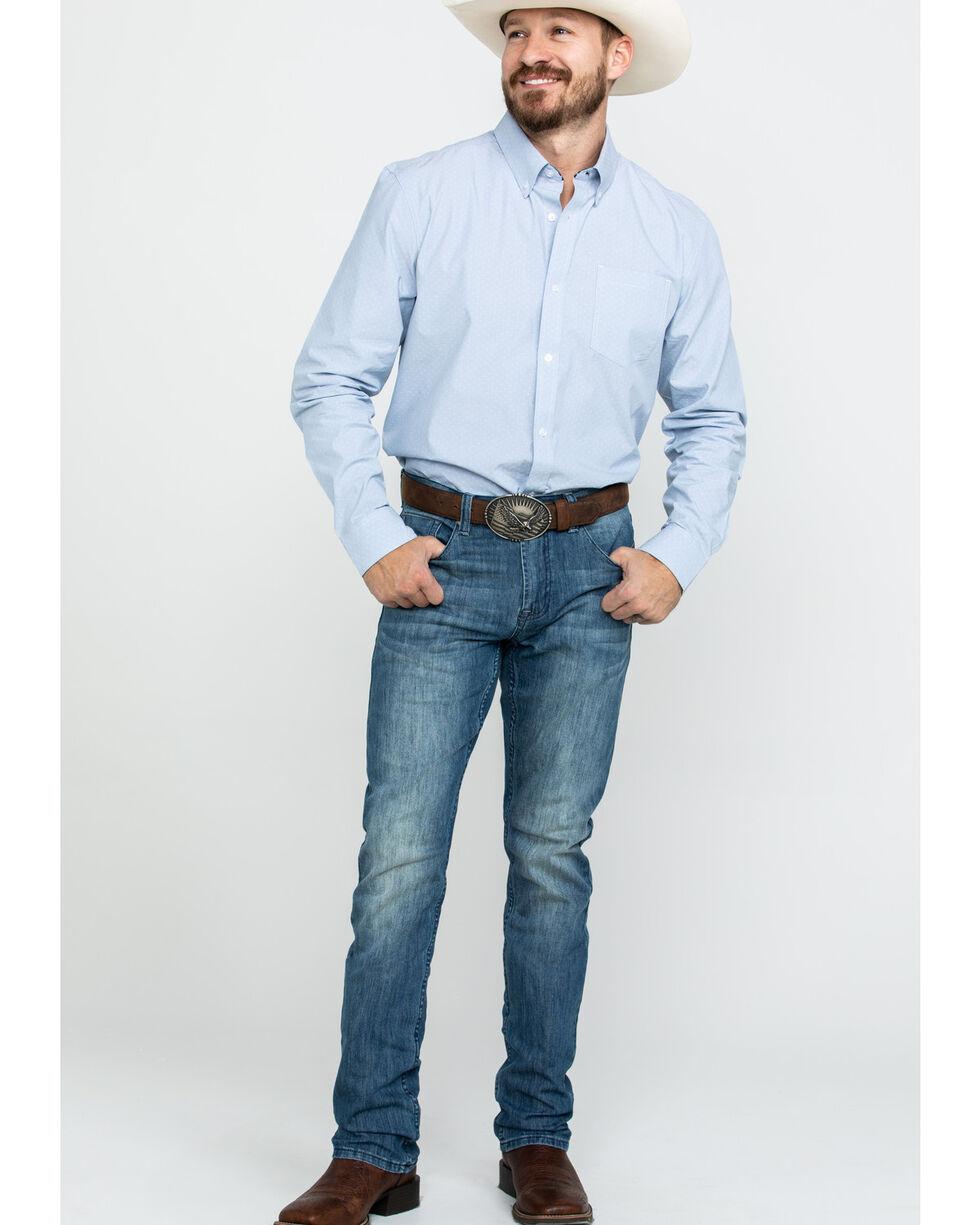 Cody James Core Men's Pinpoint Dobby Geo Print Long Sleeve Western Shirt , Blue, hi-res