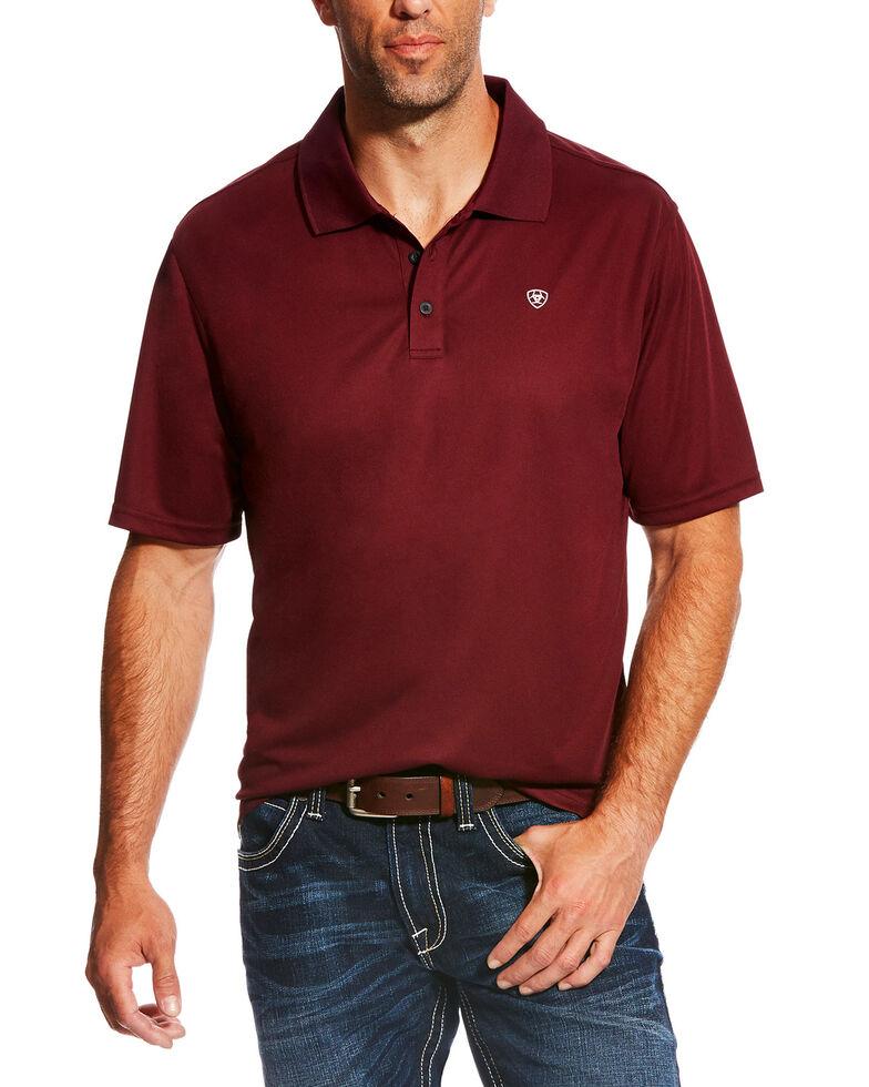 Ariat Men's Solid Tek Short Sleeve Polo Shirt , Maroon, hi-res