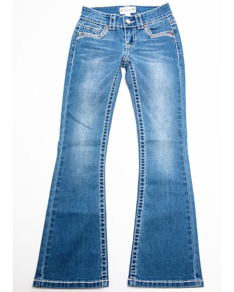 Shyanne Girls' Chevron Diamond Bootcut Jeans, Blue, hi-res