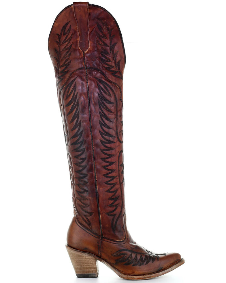 Corral Women's Cognac Embroidery Tall Boots - Snip Toe, Cognac, hi-res