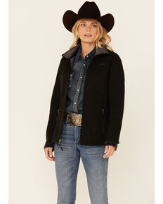 Powder River Outfitters Women's Solid Black Honeycomb Performance Zip-Front Jacket, Black, hi-res