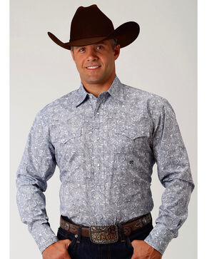 Roper Men's Navy Paisley Long Sleeve Western Snap Shirt, Navy, hi-res