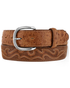 Tony Lama Men's Durmont Ostrich Print Western Belt, Brown, hi-res