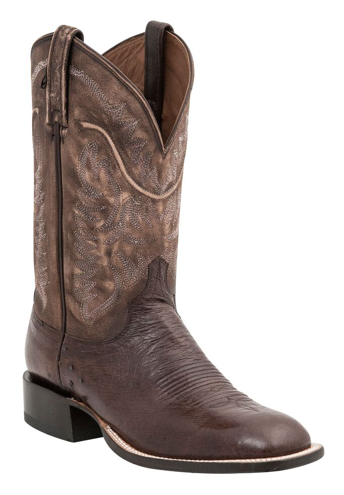 Lucchese Handcrafted 1883 Burt Smooth Ostrich Cowboy Boots - Square Toe, Cigar, hi-res
