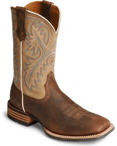 "Ariat Quickdraw 11"" Western Boots - Square Toe, Bark, hi-res"