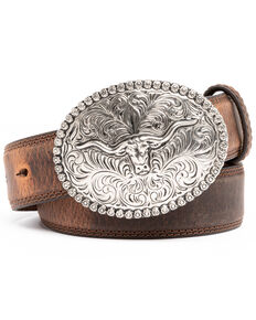 Cody James Men's Brown Red Stitched Leather Western Belt , Brown, hi-res