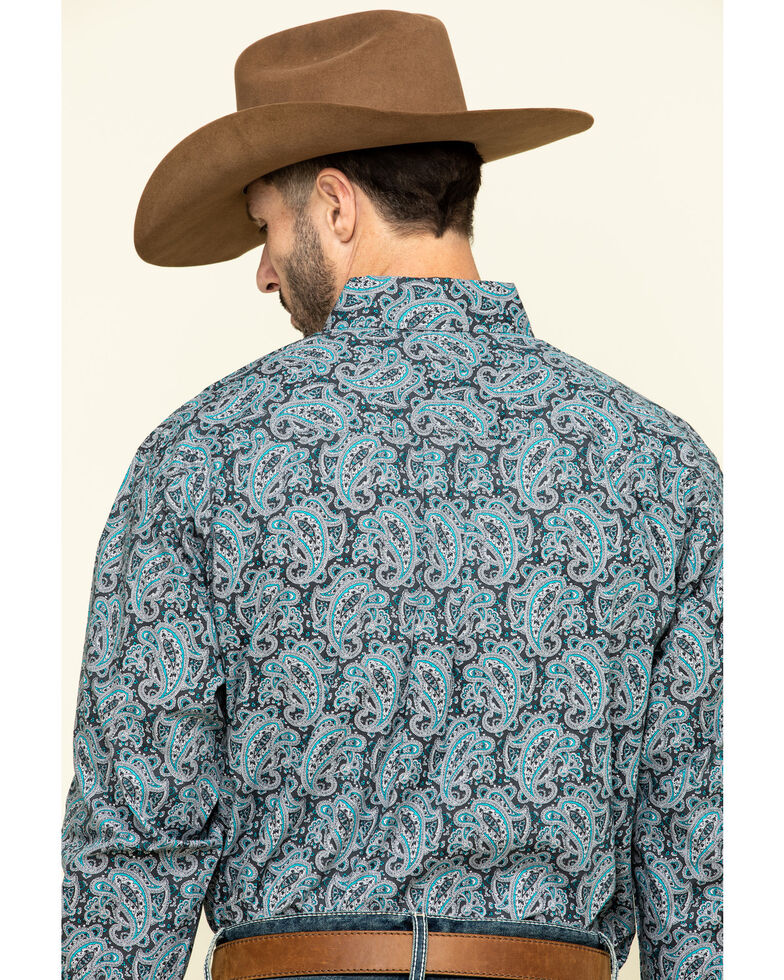 Cinch Men's Grey Paisley Print Long Sleeve Western Shirt , Grey, hi-res