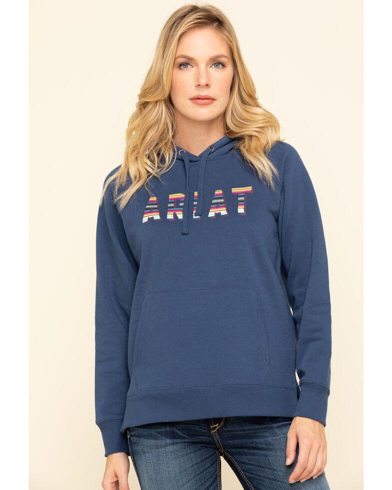 Ariat Women's Marine Blue R.E.A.L. Serape Logo Hoodie Sweatshirt, Navy, hi-res