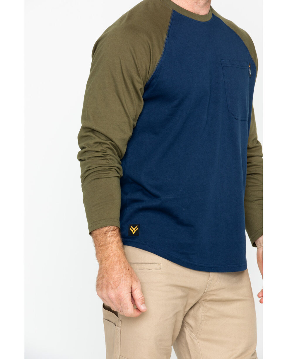 Hawx® Men's Solid Long Sleeve Baseball Raglan Crew Work Shirt , Navy, hi-res