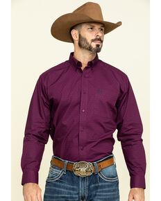 Ariat Men's Isherwood Triangle Geo Print Long Sleeve Western Shirt - Big, Purple, hi-res