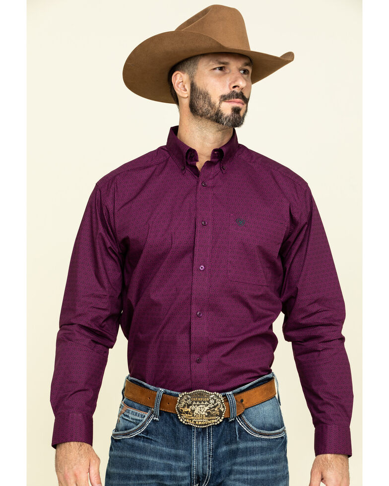 Ariat Men's Isherwood Triangle Geo Print Long Sleeve Western Shirt - Big, Purple, hi-res