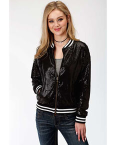 Roper Women's Black Sequin Bomber Jacket, Black, hi-res