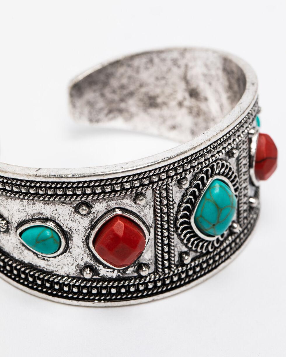 Shyanne Women's Summer Escape Wide Multi Aztec Cuff Bracelet , Silver, hi-res