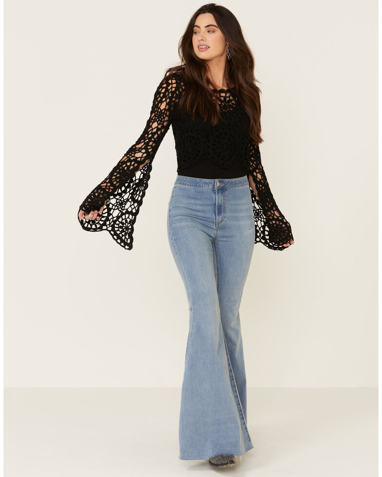 Rock & Roll Denim Women's Black Cropped Crochet Bell Sleeve Top , Black, hi-res