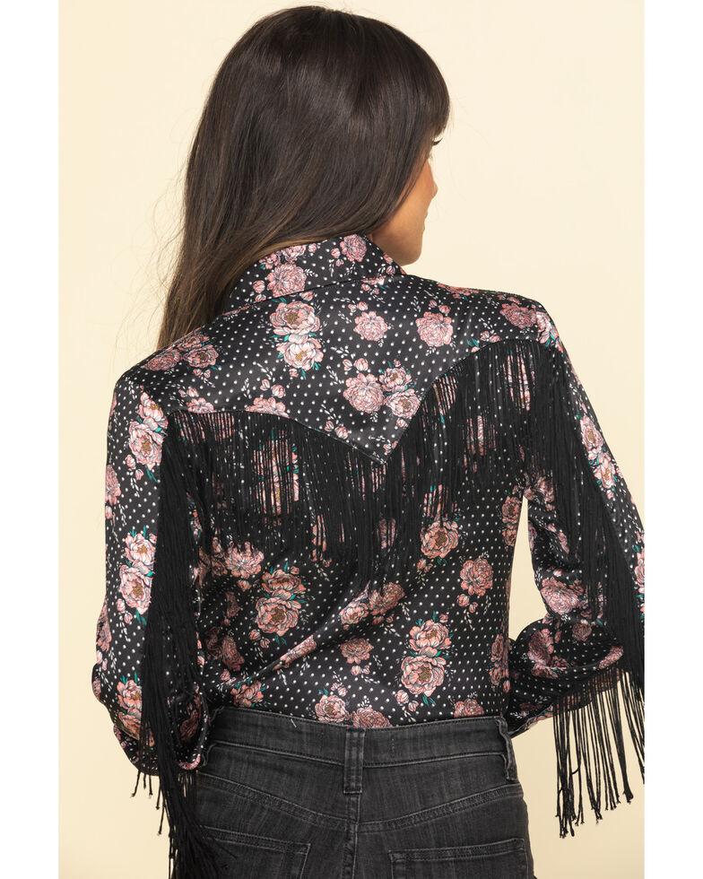 Rock & Roll Denim Women's Floral Dot Fringe Long Sleeve Western Shirt , Black, hi-res