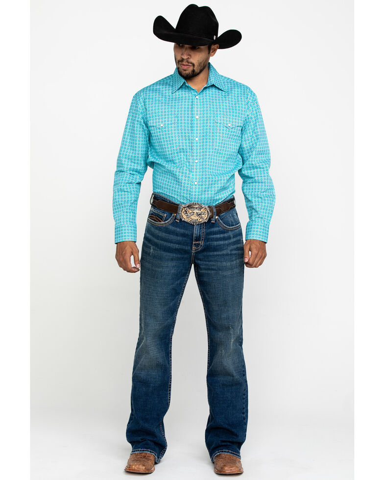 Rough Stock By Panhandle Men's Layton Geo Print Long Sleeve Western Shirt , Turquoise, hi-res