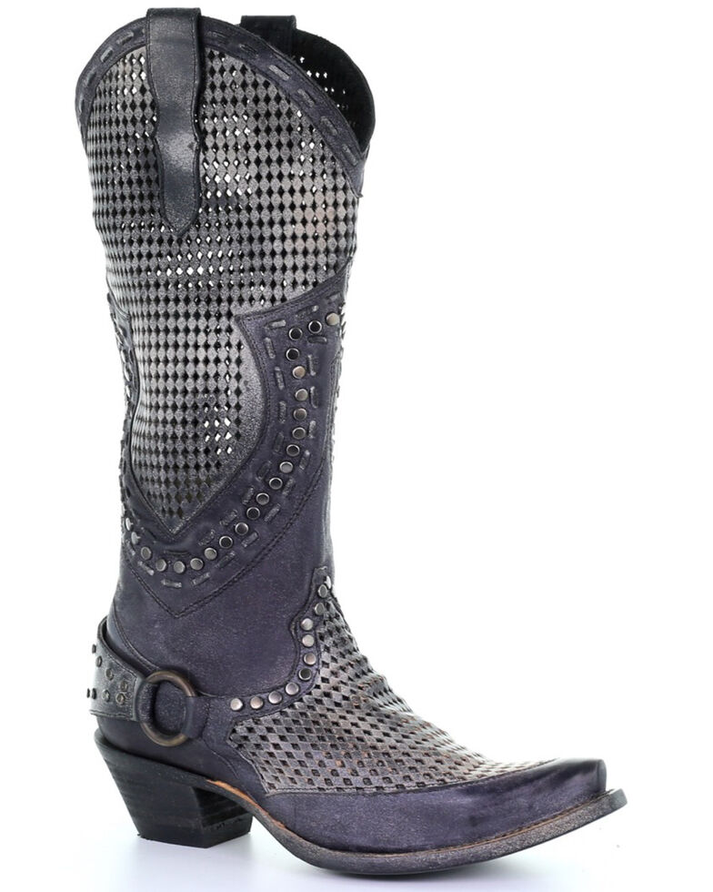 Corral Women's Black Zipper Cutout Studded Harness Western Leather Boots - Snip Toe, Black, hi-res