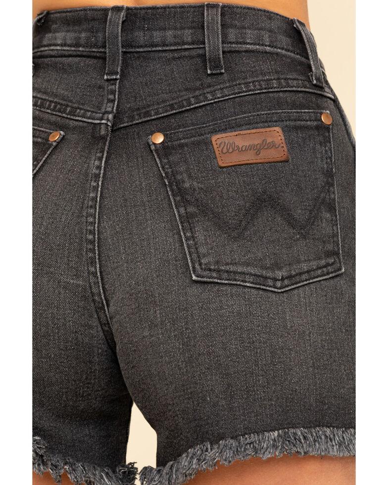 Wrangler Modern Women's Washed Black High Rise Raw Shorts, Charcoal, hi-res