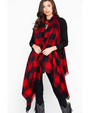 Shyanne Women's Red Checkered Frayed Scarf, Red, hi-res