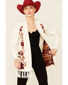Shyanne Women's Off White Floral Embroidered Fringe Open Front Cardigan , Off White, hi-res