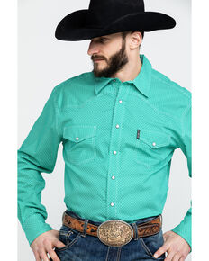 Cinch Men's Modern Geo Print Long Sleeve Western Shirt , Green, hi-res