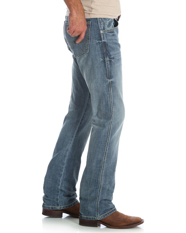 Wrangler Men's Blue Retro Slim Fit Stretch Bootcut Jeans - Long , Blue, hi-res