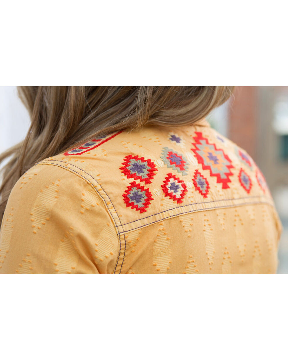 Ryan Michael Women's Tucson Clipped Shirt , Yellow, hi-res