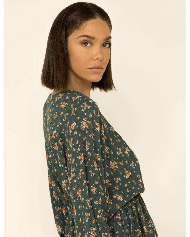 Peach Love Women's Green Floral Print Dress, Green, hi-res