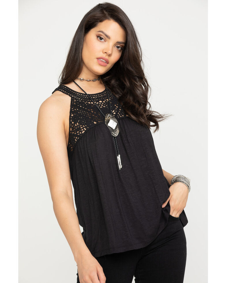 Wrangler Women's Black Crochet Tank Top, Black, hi-res