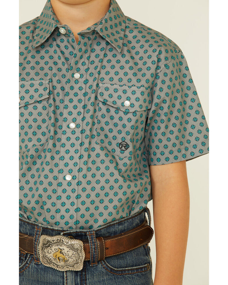 Roper Boys' Jade Quarry Quartefoil Geo Print Long Sleeve Snap Western Shirt , Grey, hi-res