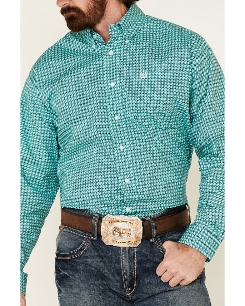 Cinch Men's Turquoise Stretch Geo Print Long Sleeve Western Shirt  , Turquoise, hi-res